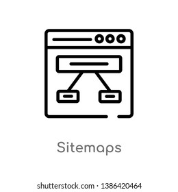 sitemaps vector line icon. Simple element illustration. sitemaps outline icon from technology concept. Can be used for web and mobile
