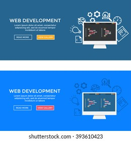 Site's home page. Web development illustration. Flat design. Banner of web development concept. . Flat design illustration concepts for analysis, working, coding, programming, and teamwork