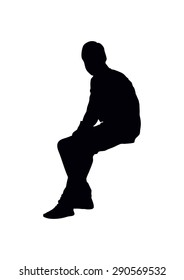 sitting boy's silhouette