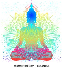 Sitting Buddha with beautifully detailed lotus flower. Esoteric vector illustration. Vintage  background. Indian, Buddhism, spiritual art. Psychedelic hippie tattoo, spirituality, Thailand, yoga zen.