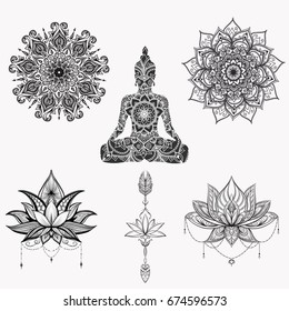 Sitting Buddha with detailed lotus flower.