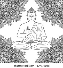 Meditating Buddha Tattoo Drawing