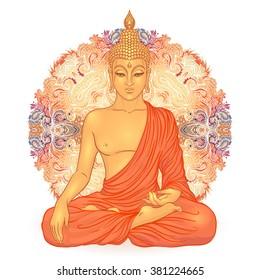 Sitting Buddha over ornate mandala round pattern. Esoteric vector illustration. Vintage decorative culture background. Indian, Buddhism, spiritual art. Hippie tattoo, spirituality, Thai god, yoga zen
