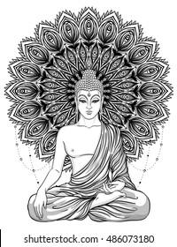 Sitting Buddha over ornate mandala round pattern. Esoteric vintage vector illustration. Indian, Buddhism, spiritual art. Hippie tattoo, spirituality, Thai god, yoga zen Coloring book pages for adults.