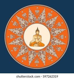 Sitting Buddha over ornate mandala round pattern. Esoteric vector illustration. Vintage decorative culture background. Indian, Buddhism, spiritual art. Thai god Lord - Buddha.