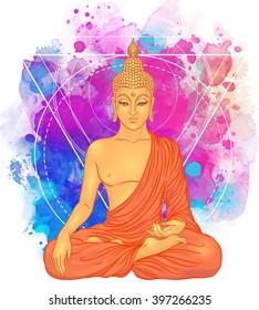 Sitting Buddha over watercolor background. Vector illustration. Vintage decorative composition. Indian, Buddhism, Spiritual motifs. Tattoo, yoga, spirituality.
