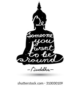 Sitting Buddha silhouette with quote on white background. Grunge effect in separate layer