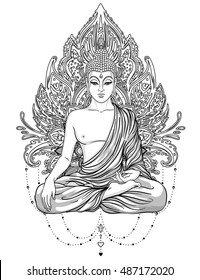 Sitting Buddha Statue over ornate mandala inspired pattern. Esoteric vintage vector illustration. Indian, Buddhism, spiritual art. Hippie tattoo, Thai god, yoga zen Coloring book pages for adults.