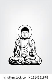 Sitting Buddha Vector illustration.Buddha and God of happiness isolated on black and white,Buddha Black and white Drawing ,image of the Buddha isolated on white background.