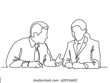 sitting businessman and business woman discussing work process - continuous line drawing