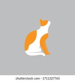 Sitting cat logo icon vector illustration. Eps10.