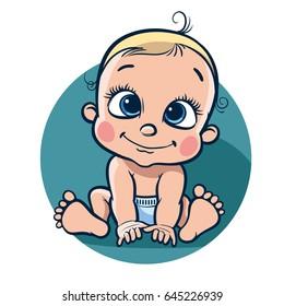 Sitting cheerful baby. Vector illustration .eps10