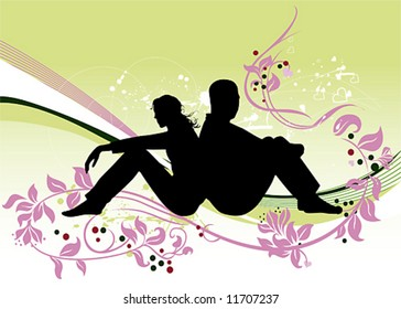 Sitting couple. Two lovers. Vector illustration.