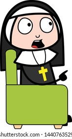 Sitting and Debating - Cartoon Nun Lady Vector Illustration