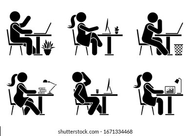 Sitting at desk office stick figure business man and woman side view poses pictogram vector icon set. Male and female silhouette seated at work, with computer, coffee, laptop, table sign on white