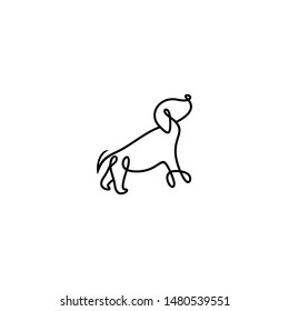 Sitting Dog Line Art Monoline Logo Templates