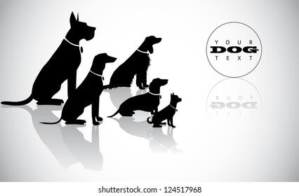 Sitting Dog Silhouettes Background Layout Design