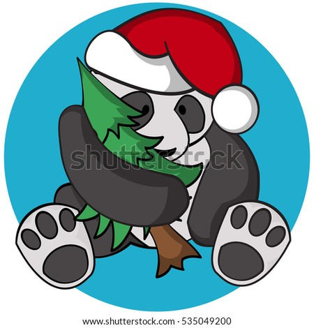 5843905268f87 Sitting funny panda bear with Christmas tree and Santa s hat. Vector  illustration.