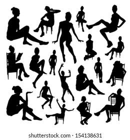 Sitting girls set