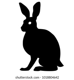 Sitting hare silhouette vector