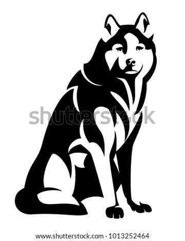Sitting Husky Dog Black White Vector Stock Vector Royalty Free