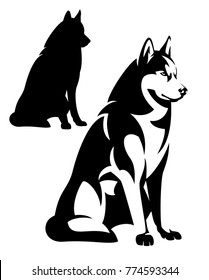 sitting husky dog simple black and white design - vector outline and silhouette.