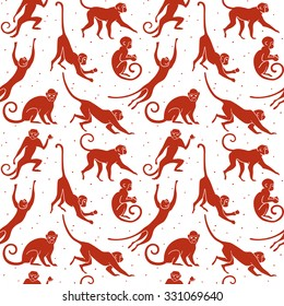 Sitting, jumping, running, hanging, walking, standing fun monkey silhouette pattern. Isolated vector illustration.