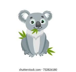 Sitting Koala Bear Vector. Australian Animal Cartoon illustration Character.Koala Sitting On Eucalyptus.