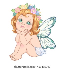 Sitting little fairy. Cute cartoon character isolated on white background
