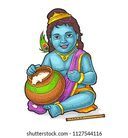 Sitting lord Krishna with pot and flute for poster Happy Janmashtami festival. Engraving vintage vector color illustration. Isolated on white background. Hand drawn design element