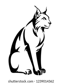 sitting lynx design - wild bobcat black and white vector outline
