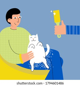 Sitting man and a cat and a lot of fur on his knees vector illustration. Lint roller commercial concept.
