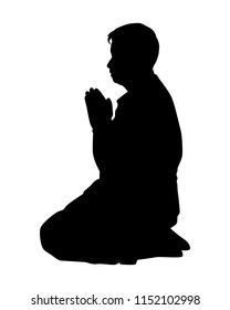 Sitting man pray silhouette vector. Person concept.