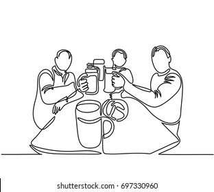Sitting men and drinking beer in time Oktoberfest. Continuous line drawing. Vector illustration