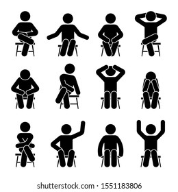 Sitting on chair stick figure man different poses pictogram vector icon set. Boy silhouette seated happy, comfy, sad, tired, depressed sign