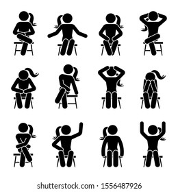 Sitting on chair stick figure woman different poses pictogram vector icon set. Girl silhouette seated happy, comfy, sad, tired, depressed sign