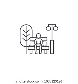 sitting on a park bench vector line icon, sign, illustration on background, editable strokes