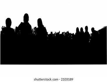 Sitting people  group silhouette vector graphics
