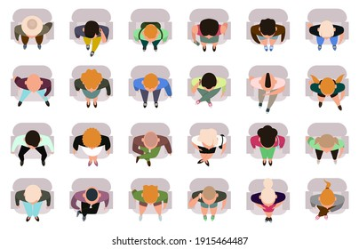 Sitting people top view. Male and female sitting characters view from. Business or student people sit in armchairs vector illustration set. Top view armchair lady or man character, cinema or theater