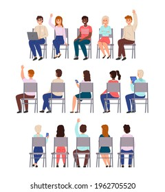 Sitting people. Young men and women sit chairs in row collection, different students back, front and half-side view, lecture participants. University and college vector cartoon isolated set
