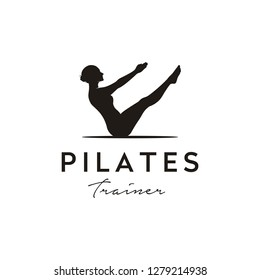 Sitting Pilates Woman Silhouette logo design