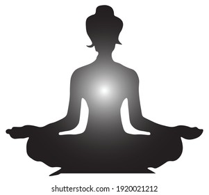 sitting positions and meditation in yoga. Silhouette of woman doing yoga with aura emitting in her body. Yoga pose for relaxation