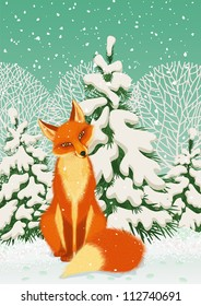 Sitting red fox in the winter forest