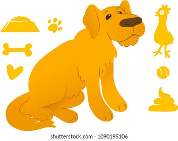 Sitting retriever with cute dog icons set