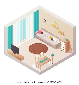 Sitting room isometric interior design composition with cumbersome objects lounge furniture window and books on shelves vector illustration