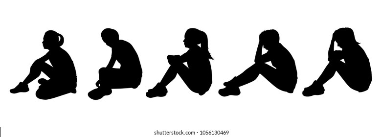 Sitting sad girl silhouette vector set