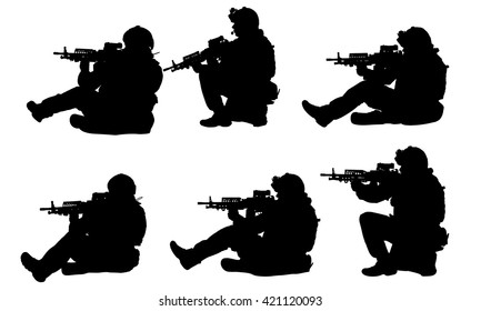 Sitting Soldiers Silhouettes Set