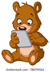 Sitting teddy bear using a tablet pc