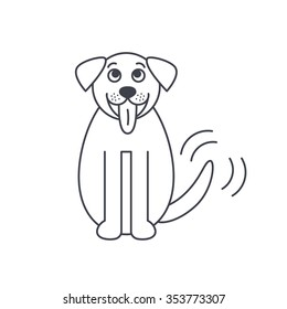 Sitting wagging tale St. Bernard dog. Happy smiling big pet. Dog stick its tongue out. Dog adoption concept. Vector line icon isolated on white background.