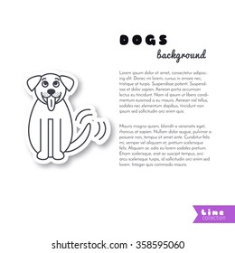 Sitting wagging tale St. Bernard dog. Happy smiling big pet. Dog stick its tongue out. Dog adoption concept. Vector line sticker on white background. Page template for your design with space for text.